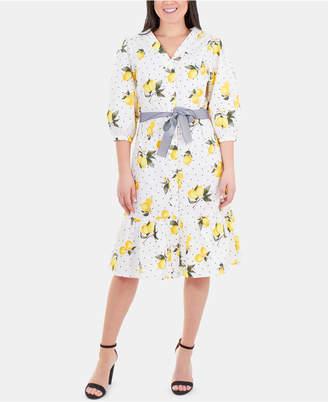 NY Collection Cotton Lemon-Print Flounce-Hem Dress