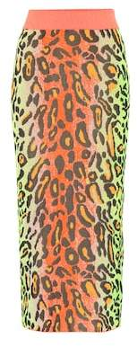 Stella McCartney Neon Leopard knitted skirt