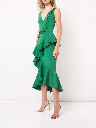 Marchesa embroidered midi dress