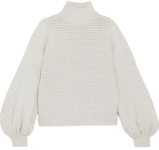 Rebecca Vallance Bella Ribbed Merino Wool-blend Turtleneck Sweater - Gray