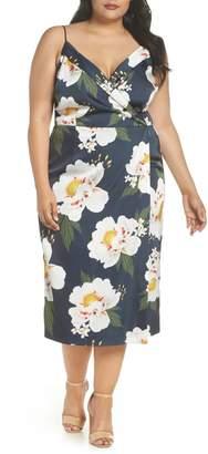 Cooper St Pascala Floral Satin Faux Wrap Dress (Plus Size)