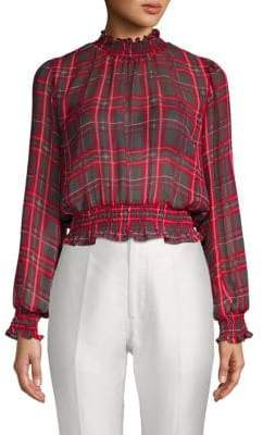 Plaid Smocked Top