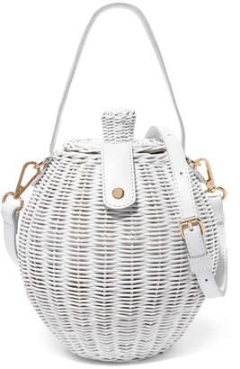 Ulla Johnson Tatou Mini Leather-Trimmed Wicker Shoulder Bag