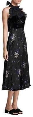 Rebecca Taylor Women's Silk Velvet Halter Dress - Black Combo - Size 12