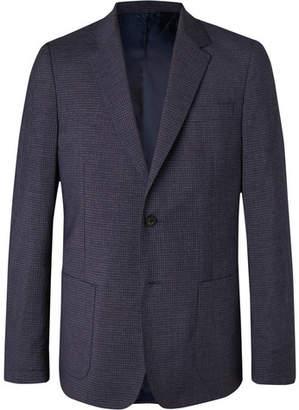 Mr P. Navy Slim-Fit Checked Wool-Blend Blazer