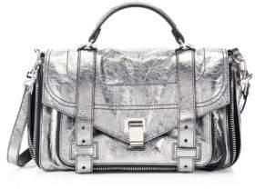 Proenza Schouler Women's Medium Metallic Leather Shoulder Bag - Dark Silver
