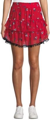 MISA Los Angeles Sasha Floral-Print Ruffle Mini Skirt