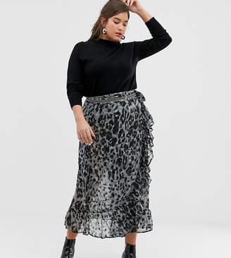 Religion Plus Wrap Maxi Skirt In Leopard