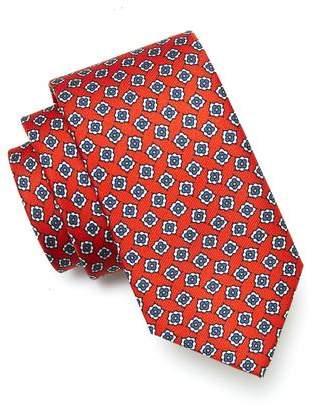 Drakes Drake's Floral Foulard Silk Tie in Red