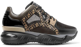Fendi Logo-Jacquard Mesh, Leather, Pvc And Rubber Sneakers