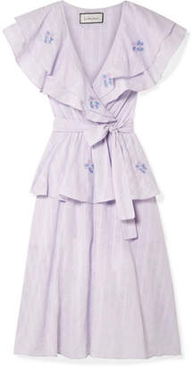Innika Choo - Sailor Ruffled Embroidered Linen Dress - Lilac