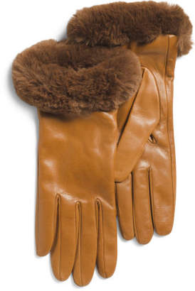 Made In Italy Leather Faux Rabbit Fur Trim Gloves