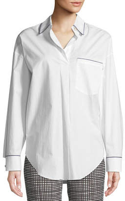 Piazza Sempione Long-Sleeve Button-Down Cotton Tunic Shirt w  Contrast  Piping c9afb00af