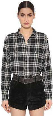Saint Laurent Oversized Plaid Cotton Flannel Shirt
