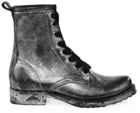 Frye Women's Veronica Leather Combat Boots - Black Multi - Size 7