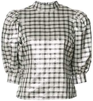 Ganni mock neck checked blouse