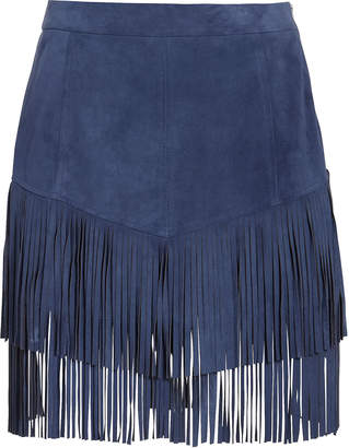 Intermix Maris Fringe Suede Skirt