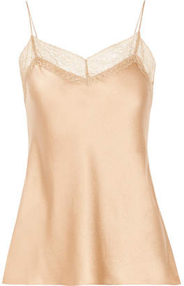 Vince Lace-trimmed Silk-satin Camisole - Sand