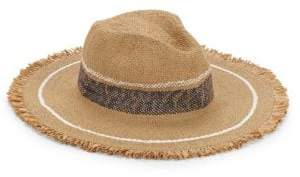 Hat Attack Women's Continental Fringed Striped Hat - Toast