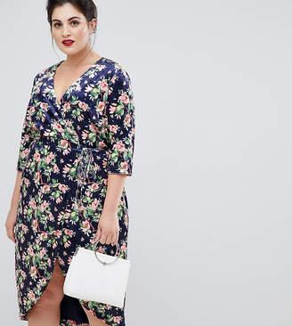 Lovedrobe wrap front burnout velvet pencil dress in navy