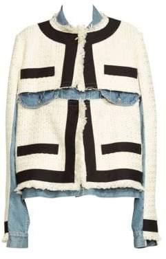Sacai Women's Summer Tweed Denim Jacket - Off White - Size 1 (XS)