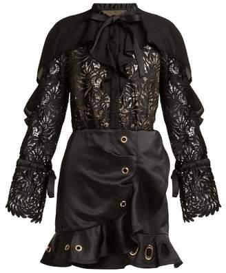 Self-Portrait Guipure Lace And Crepe Mini Dress - Womens - Black