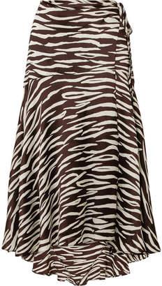 Ganni Blakely Zebra-print Stretch-silk Satin Wrap Skirt - Zebra print