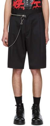 DSQUARED2 Black Wool Chain Rapper Shorts