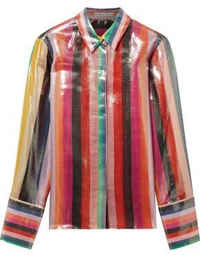 Alice + Olivia Willa Striped Silk-Blend Lamé Shirt