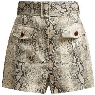 Zimmermann Corsage Snake Print Linen Shorts - Womens - Python