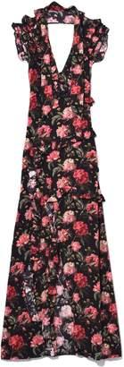 R 13 Ruffle Slit Dress in Black Large Floral