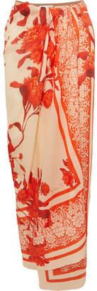 Johanna Ortiz Cafe Del Mar Floral-print Linen Pareo - Red