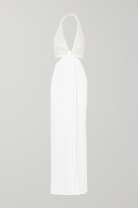 Galvan - Twist-front Stretch-jersey And Crepe Halterneck Gown - White