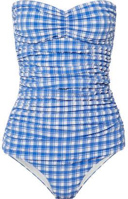 Ganni Jewett Gingham Halterneck Seersucker Swimsuit - Blue