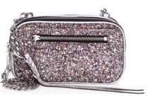 Rebecca Minkoff Women's Glitter Double Zip Crossbody Bag - Silver Multi