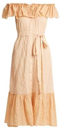 Lisa Marie Fernandez Mira Off The Shoulder Striped Cotton Dress - Womens - Orange Multi