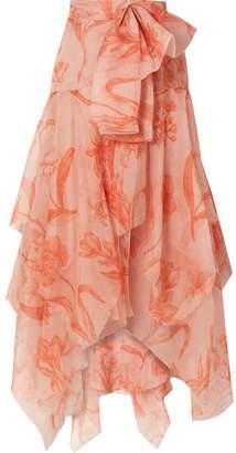 Johanna Ortiz Sparkling Sand Printed Silk-organza Maxi Skirt - Peach