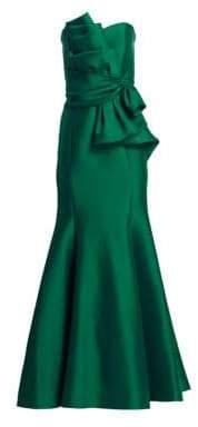 Badgley Mischka Women's Strapless Bow Front Gown - Emerald - Size 12