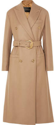 Versace Belted Double-breasted Wool Coat - Camel