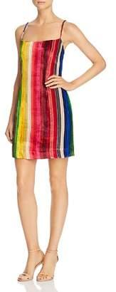 Milly Rainbow Stripe Velvet Mini Slip Dress