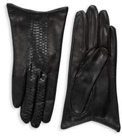 Portolano Snake-Print Striped Leather Gloves