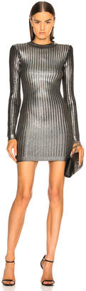 Balmain Ribbed Long Sleeve Mini Dress in Holographic Silver & Black | FWRD