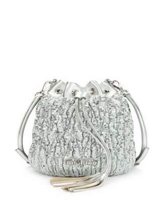 Miu Miu Small Matelasse Paillettes Drawstring Bucket Bag