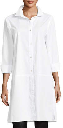 Eileen Fisher Long-Sleeve Stretch-Cotton Lawn Shirtdress, Plus Size
