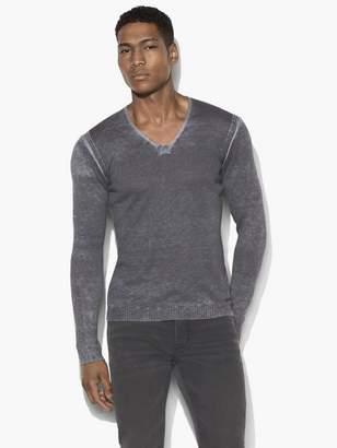 John Varvatos Reverse Print V Neck Sweater