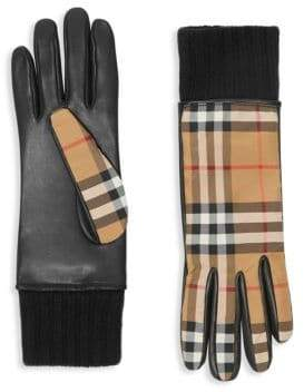 Burberry Leather Palm Check Gloves