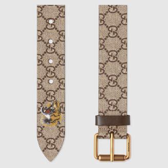 Gucci Tiger print GG Supreme belt