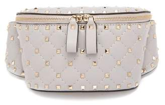 Valentino Rockstud Spike Quilted Leather Belt Bag - Womens - Light Grey