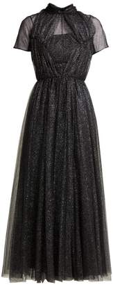 Emilia Wickstead Gabriel Glittered Tulle Gown - Womens - Black