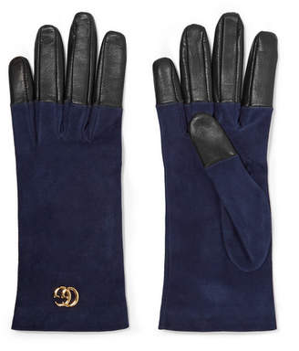 Gucci Viola Suede And Leather Gloves - Navy